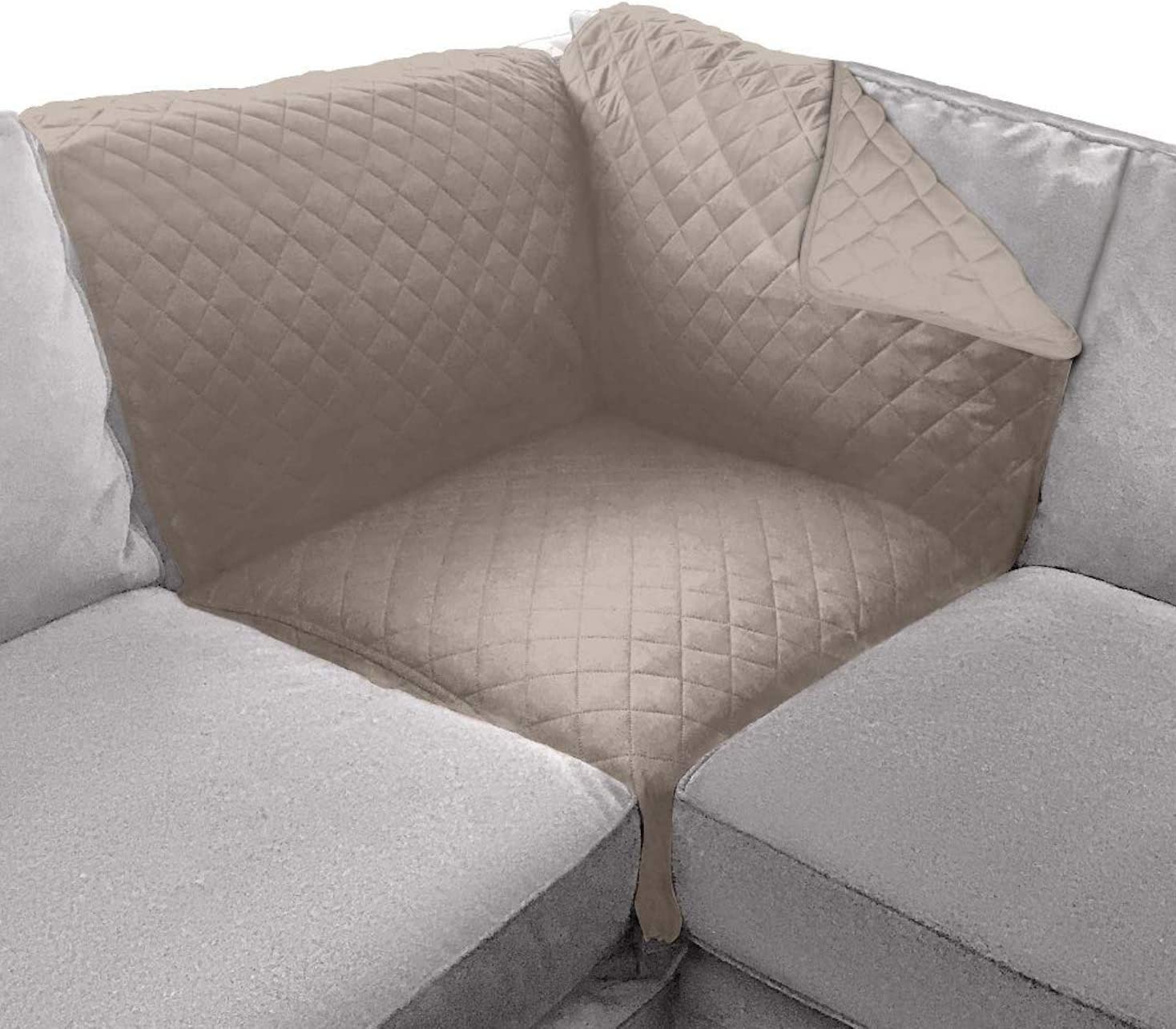 Sofa Shield Original Patent Pending Sofa Corner Sectional Slipcover, Many Colors, 30x30 Inch, Reversible Washable Furniture Protector with Straps, Sectional Slip Cover for Pet Dogs, Cat, Light Taupe