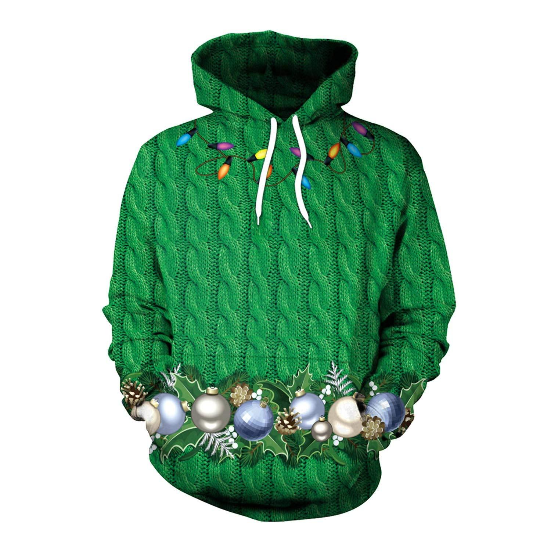 Reno de Navidad suéter con Capucha con Estampado Digital 3D Manga ...