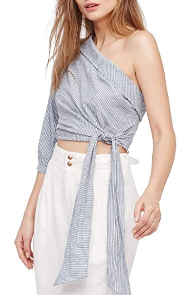 d59aec202bb68 Free People Get Down Striped One-Shoulder Top  Amazon.ca  Clothing    Accessories