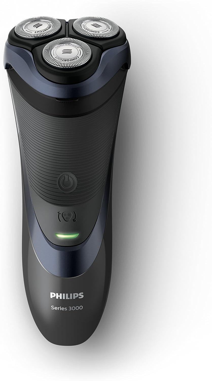 Philips SHAVER Series 3000 - Afeitadora (Máquina de afeitar de rotación, 2 año(s), Negro, Azul, AC/Batería, Ión de litio, 50 min): Amazon.es: Salud y cuidado personal