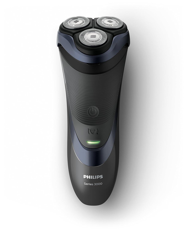 Philips SHAVER Series 3000 - Afeitadora (Máquina de afeitar de rotación, 2 año(s), Negro, Azul, AC/Batería, Ión de litio, 50 min) S3530/06