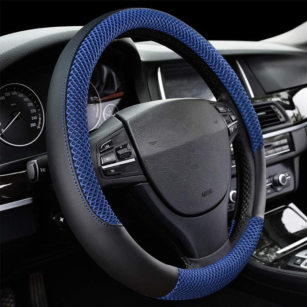Black DIY 38cm Genuine Leather Steering Wheel Cover Non-Slip with Red Nylon Cord