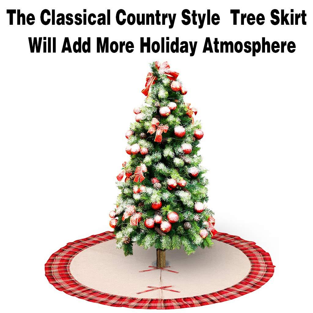 OWUDE 48 Pulgadas Falda del /árbol de Santa Cubierta de la Base de Lino arpillera Falda del /árbol de Navidad para la Fiesta de Navidad Vacaciones decoraci/ón del hogar