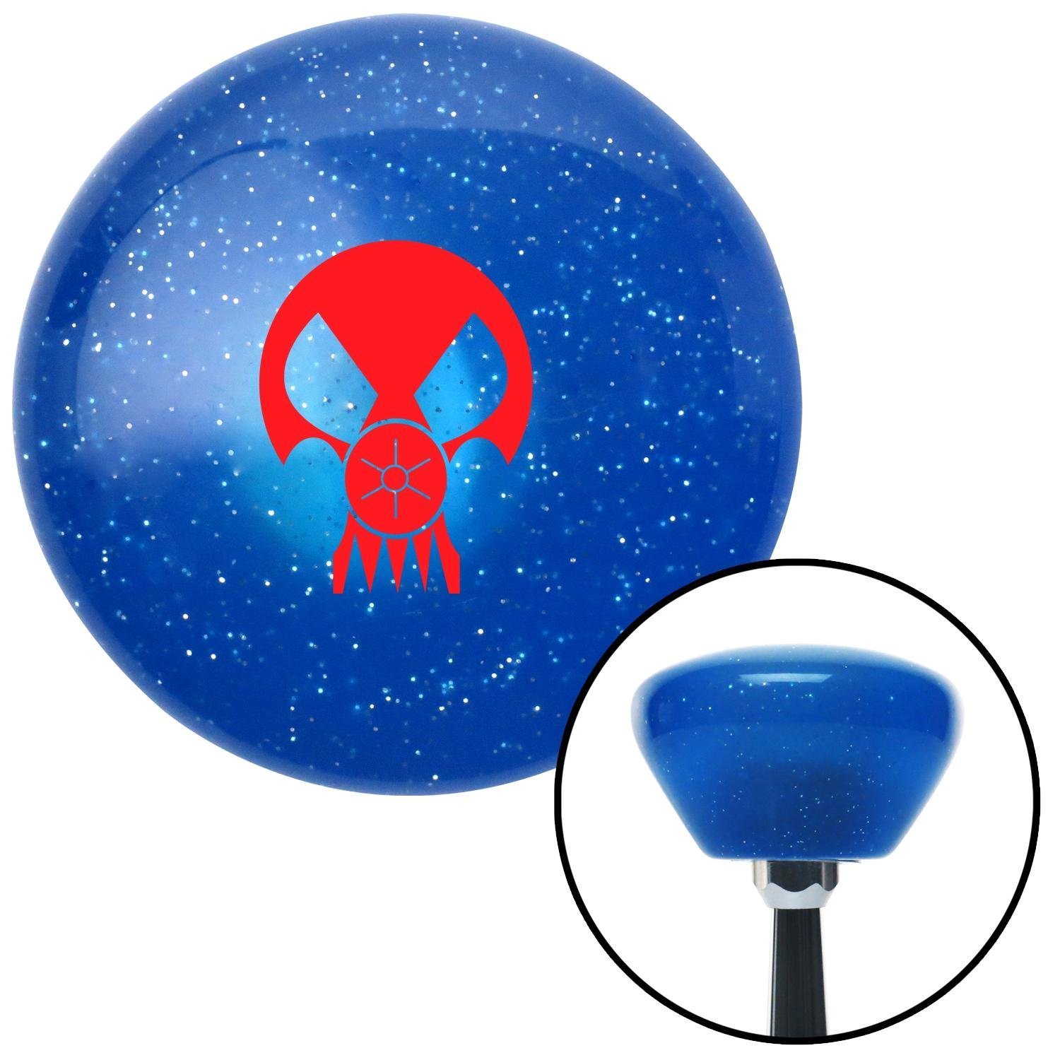 American Shifter 187929 Blue Retro Metal Flake Shift Knob with M16 x 1.5 Insert Red Skull Gas Mask