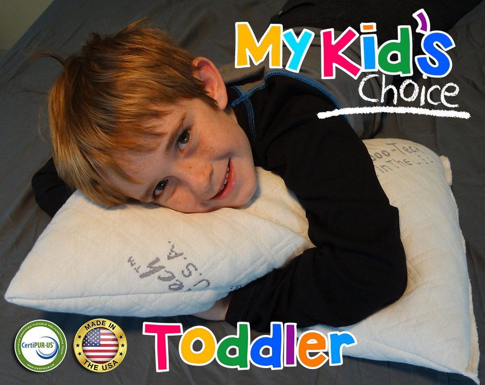 My Kids Choice Toddler Size Pillow | Luxury Bamboo Cover With Shredded Memory Foam | All U.S.A. Made | Machine Washable | No Pillow Case Needed