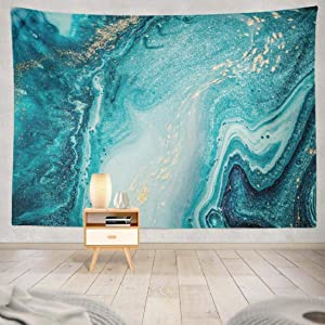 Blue Tapestry, Summor Tapestry Ocean Tapestry Marble Tapestry Abstract Ocean Art Natural Swirls Marble Ripples Agate Hanging Tapestries 60 X 80 Inch Wall Hanging Decor for Bedroom Dorm