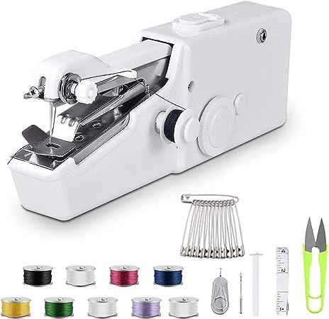 Oferta amazon: Máquina de coser de mano – Mini máquina de coser portátil de mano máquina de coser eléctrica, máquina de coser rápida y práctica para tela, ropa, tela para niños uso en el hogar o viajes