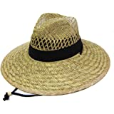 Men's Straw Outback Lifeguard Beach Surf Sun Hat with Wide Brim (Straw 3)