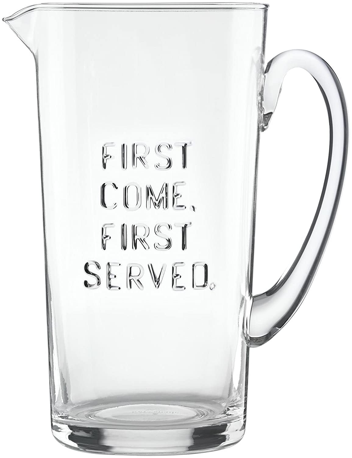 KSNY All in Good Taste Glass Pitcher First Come First Serv Clear