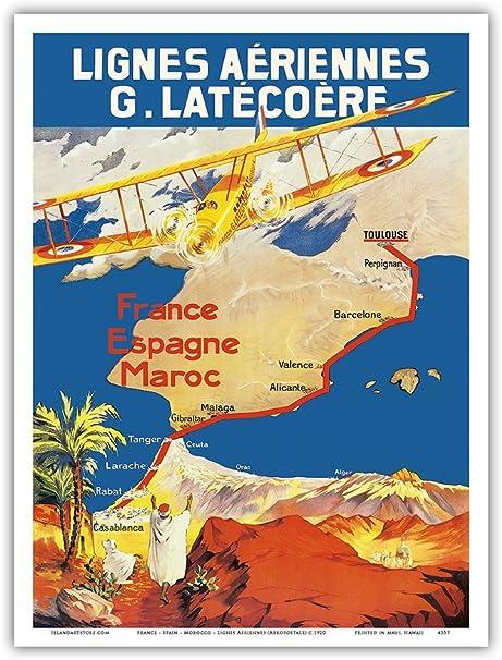 Pacifica Island Art Francia-España-Marruecos-Inter Airlines (Aropostale)-Cartel del Viaje c.1920 Airline-Arte Master Print-9