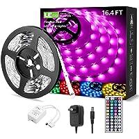 LE LED Strip Lights Kit, 16.4ft RGB LED Light Strips, Color Changing Light Strip with Remote Control, 12V Power Supply…