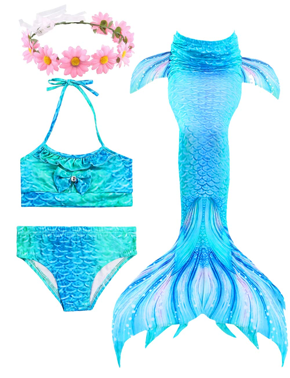 3 Pcs Girls Swimsuit Bikini Mermaid Tails for Swimming Can Add Monofin Prime Deals Summer (XX-Large 11-12Y 150, Blue)