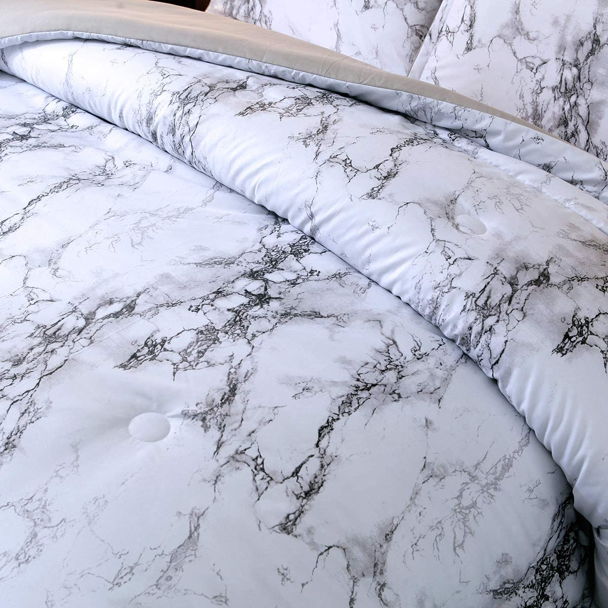 Marble Comforter Set Queen White Gray Marble Printed Bedding Solid Comforter Set for All Seasons 1 Comforter+2 Pillowcases 3 Pieces ,Soft Microfiber Inner Down Comforter Duvet Set