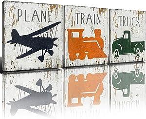 Rustic Black Airplane Decor Toy Car Wall Art Cute Cartoon Train Canvas Prints 12 x 12