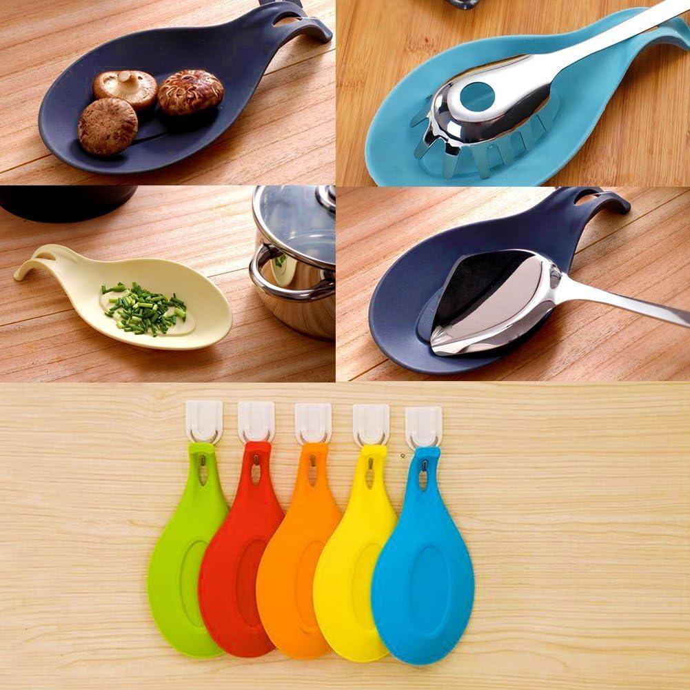 resistente al calor y a prueba de agua 5 piezas Conjunto de descanso de cuchara resistente al calor 5 Pcs Conjunto de descanso de cuchara de silicona