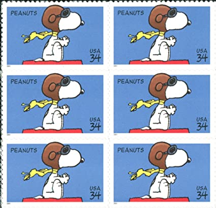 PEANUTS SNOOPY RED BARON CHARLES SCHULZ 3507 Block Of 6 X 34