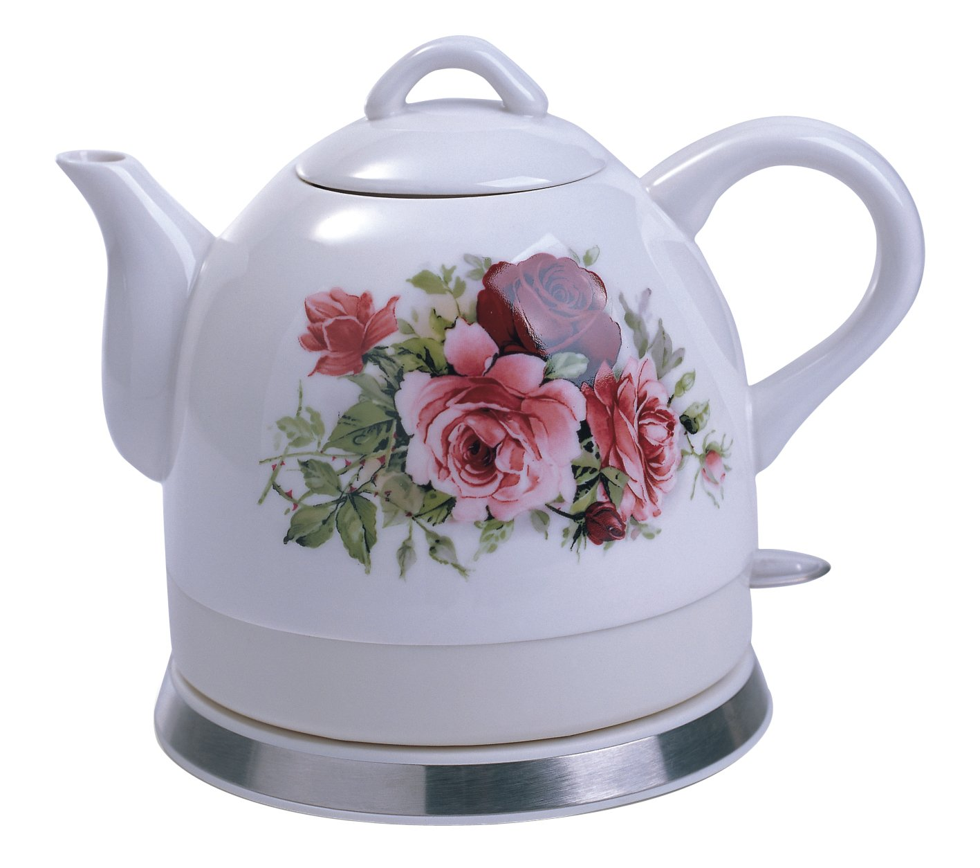 FixtureDisplays Ceramic Electric Kettle with Rose Flower Pattern 12026-FBA Fulfilment By Amazon