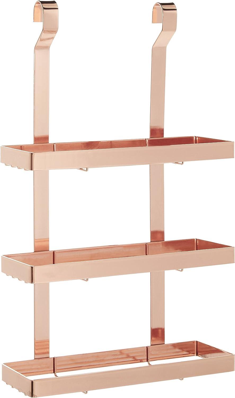 Premier Housewares Sorello - Estante Colgante (Hierro, Oro Rosa, 9 x 26 x 44 cm)
