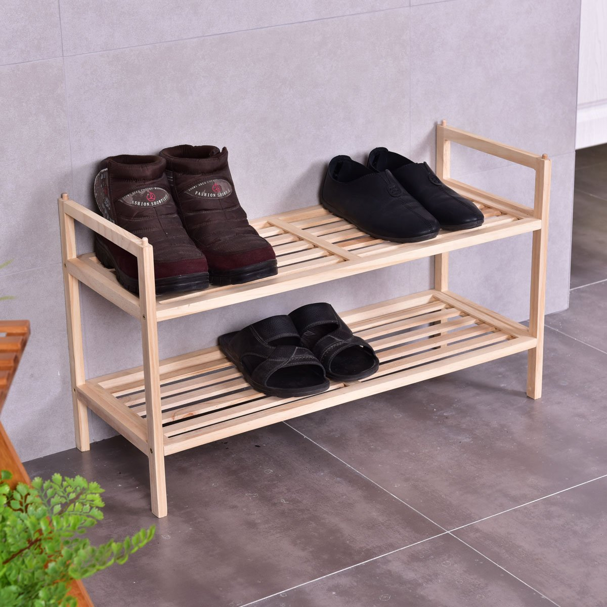 Giantex 2 Tier Solid Wood Shoe Rack Shelf Storage Organizer Wooden Slats Entryway Home by Giantex (Image #2)