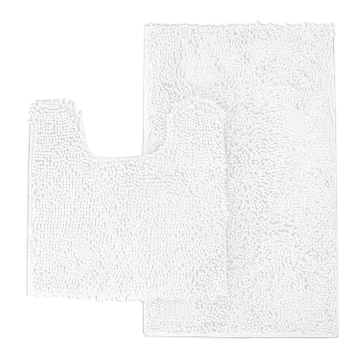 Mayshine 2 Pack (20x31/20x20U inches) Non-slip Bathroom Rug toilet Shag Shower Mat