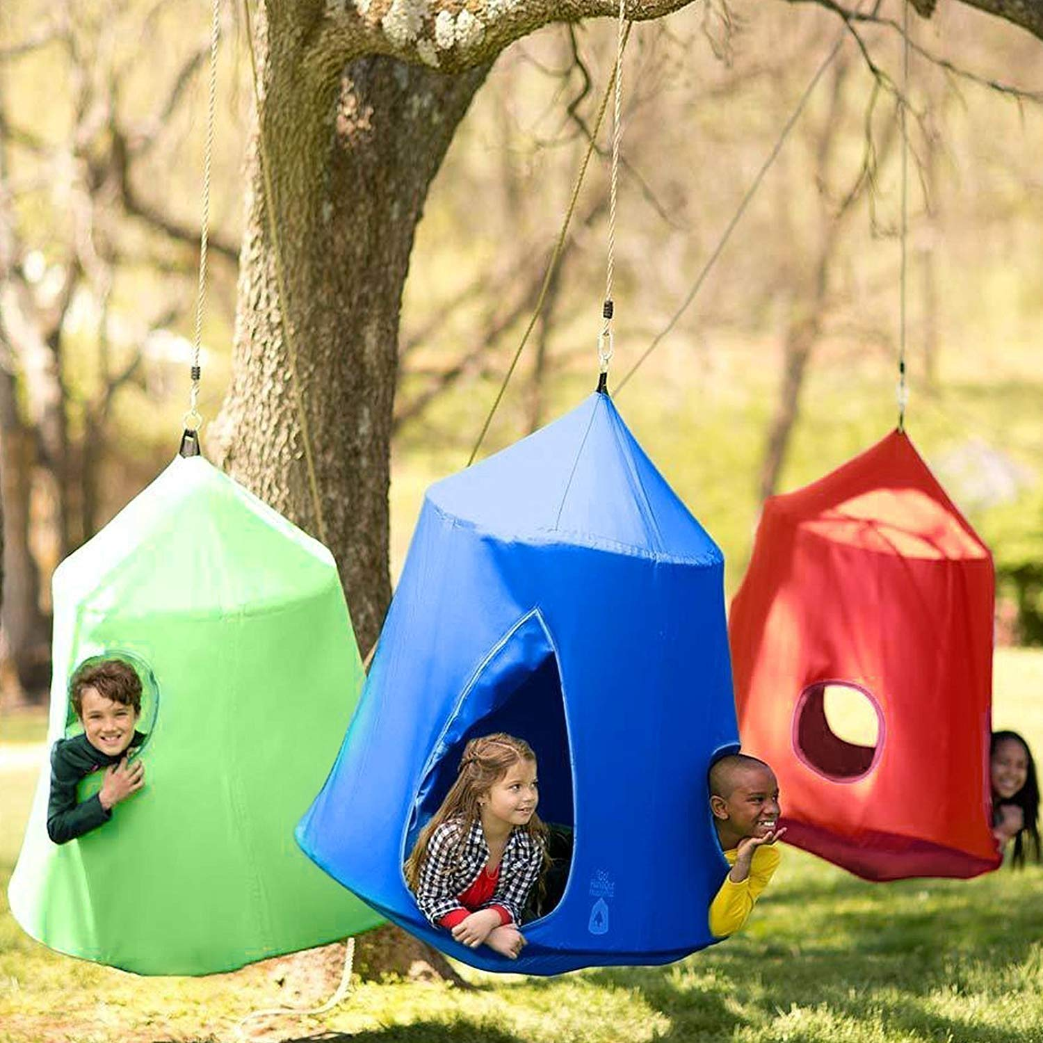 Mophorn Hanging Tree Tent 45 diam x 54 H Hanging Tent Swing Tent Waterproof Hanging Tree&Ceiling Hammock Tent Green Kids Outdoor Tents Playhouses (Blue) by Mophorn (Image #10)