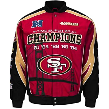 sports shoes fdf6d 816fe G-III Sports NFL Men's San Francisco 49ers 5-Time Super Bowl Champions  Button up Twill Commemorative Jacket