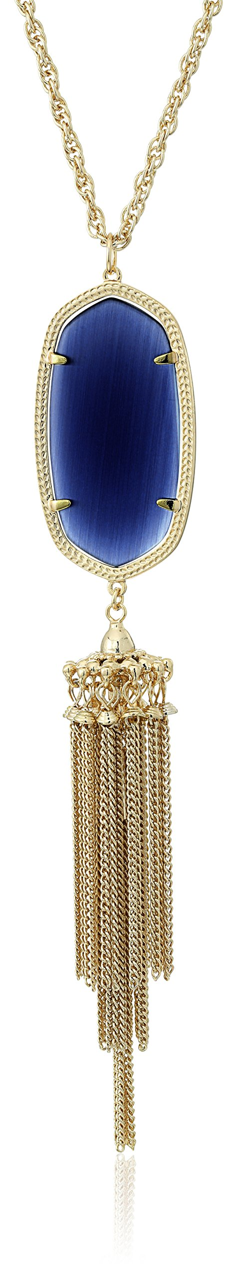 Kendra Scott ''Signature'' Rayne Gold plated Navy Glass Pendant Necklace,  30'' + 2'' Extender