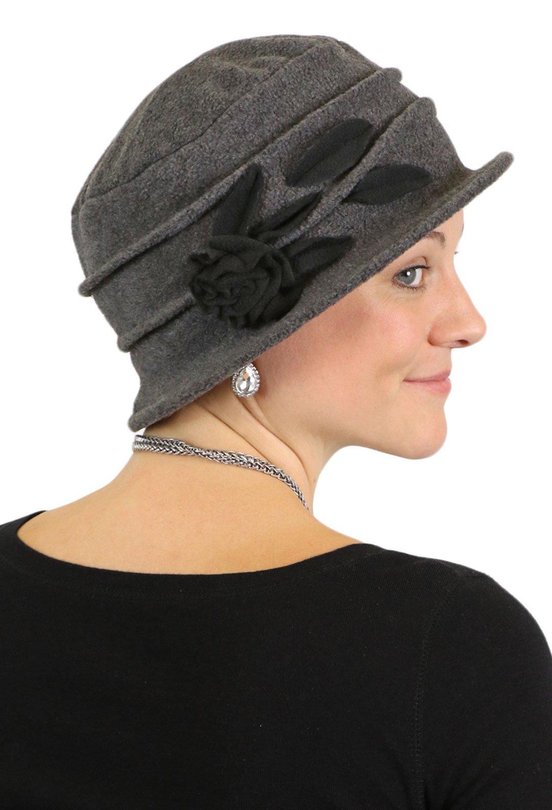 04625046d56 Fleece Hats for Women Cloche Cancer Headwear Chemo Cap Hair Loss Ladies  (Grey with Black)