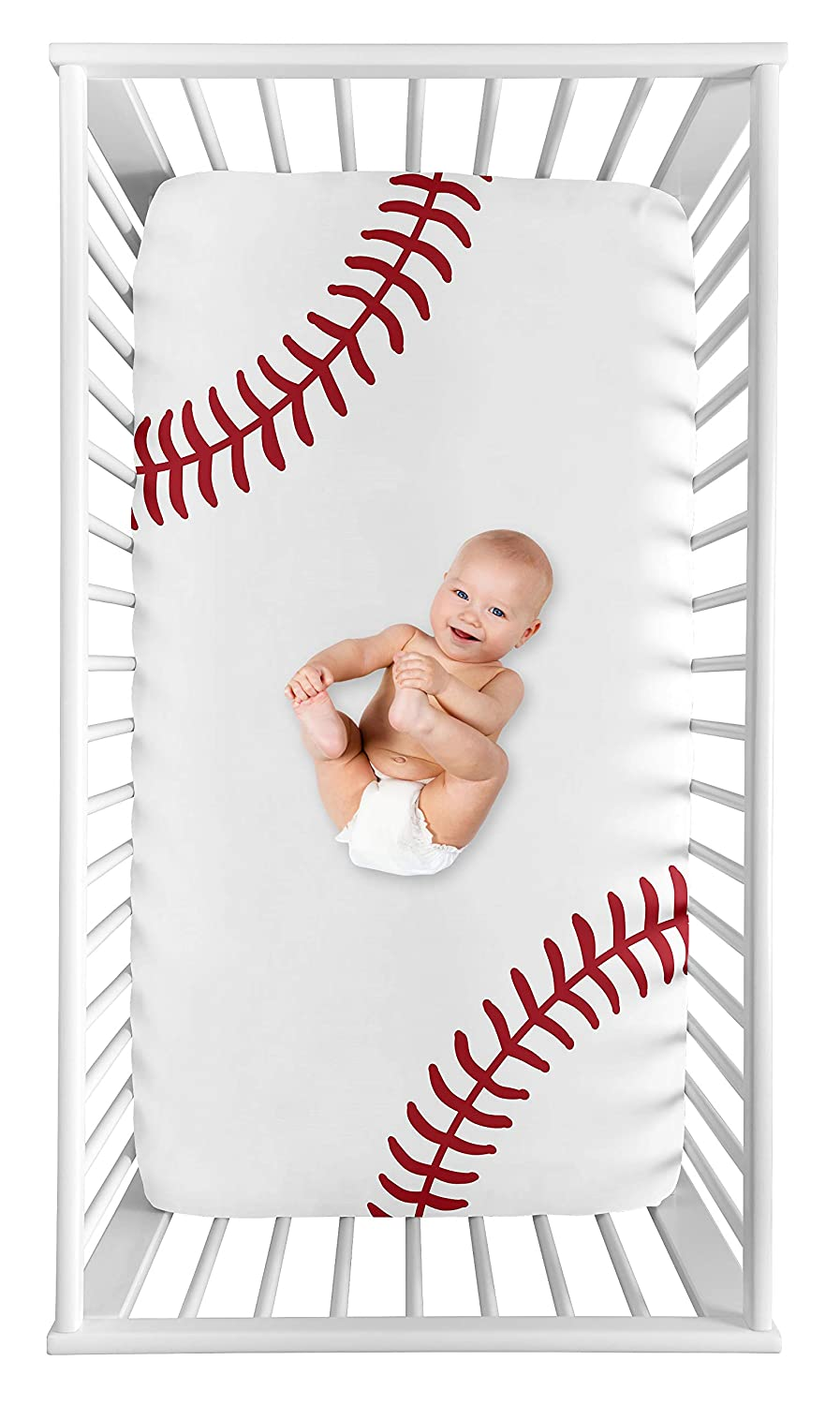 Sweet Jojo Designs Baseball Boy Fitted Crib Sheet Baby or Toddler Bed Nursery Photo Op - Red and White Americana Sports