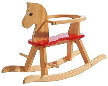 638cd4b0f Caballo de balancín roba, juguete balancin acabado en madera maciza natural  y laca roja, caballo balancin para niños pequeños con anillo protector ...