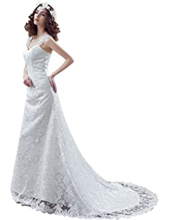 Sarahbridal Women Lace Wedding Dresses Plus Size Tulle Dress For Bride With Court Train SQS042