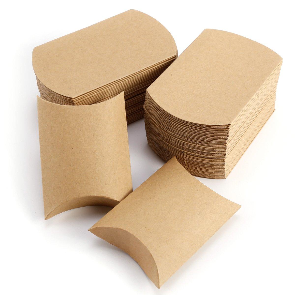 Pillow Shape 50PCS 100PCS 100 Eco Kraft Card carry Boxes Gift or Wedding Favour Boxes