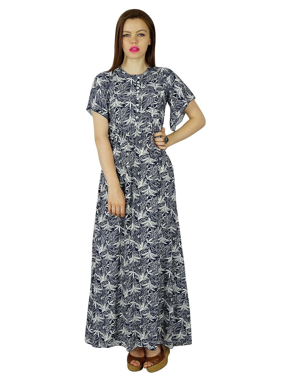 Bimba Frauen lange Maxi-Kleid mit Rüschen Hülse Rayon Kleid klassische Sommerkleidung