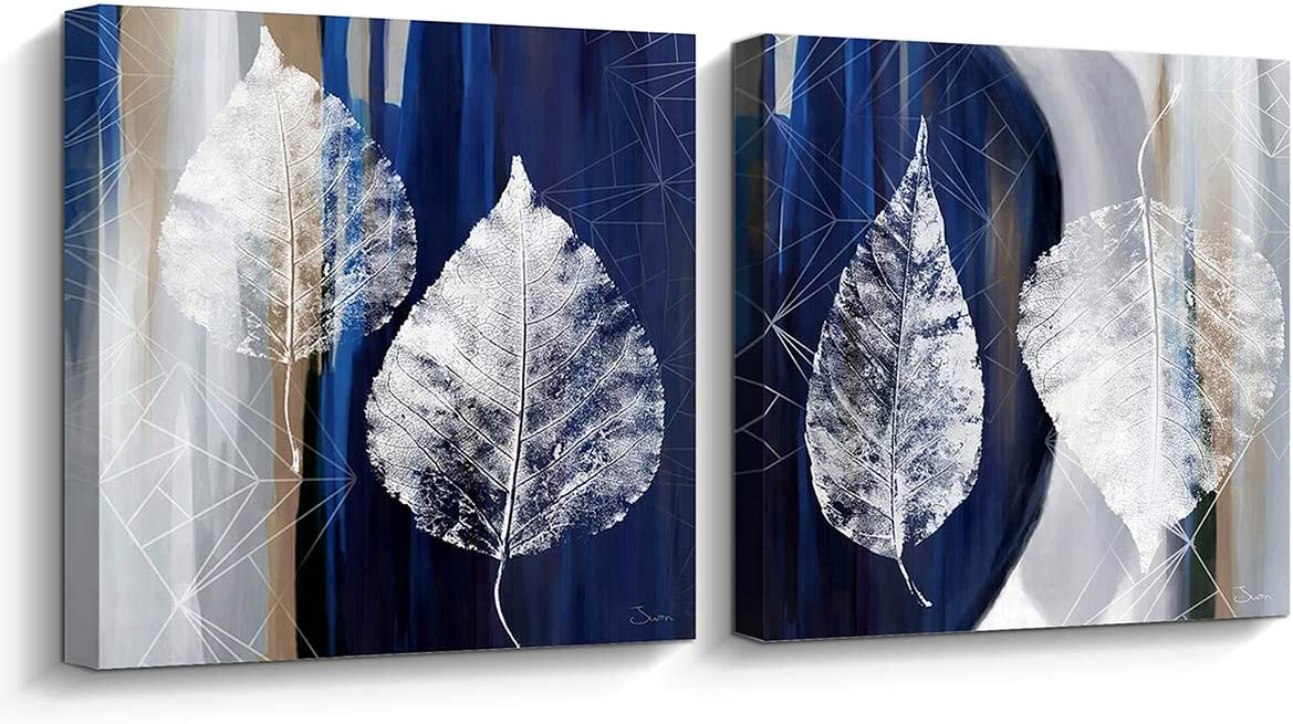 Pi Art Canvas Print Wall Art Floating Silver Leaves on Blue and Gray Background Gallery-Wrapped Canvas Artwork Wall Decor