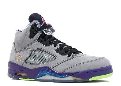 size 40 6d99b 54ada Jordan Nike Mens Air 5 Retro Bel Air Cool Grey Suede Basketball-Shoes Size  11