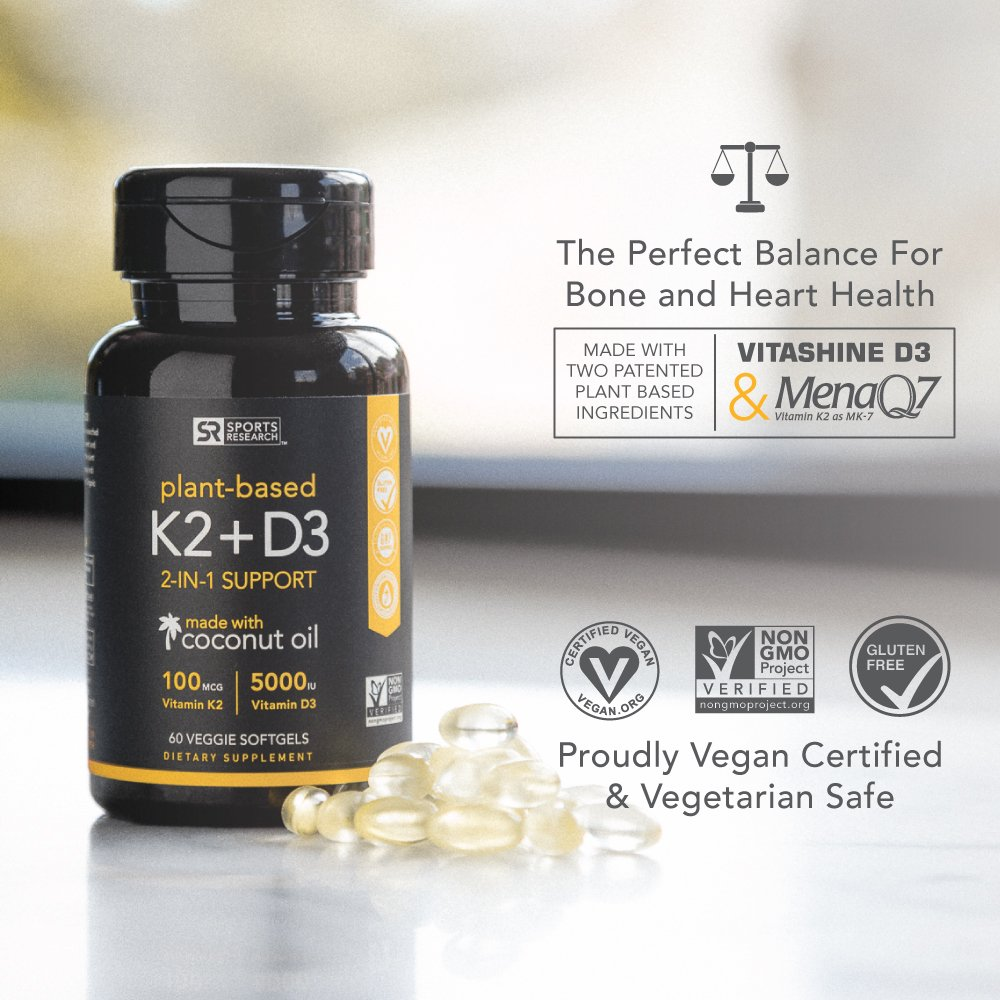 Vitamin K2 + D3 with Organic Coconut Oil for Better Absorption | 2-in-1 Support for Your Heart, Bones & Teeth | Vegan Certified, GMO & Gluten Free ~ 60 Veggie Gels by Sports Research (Image #2)