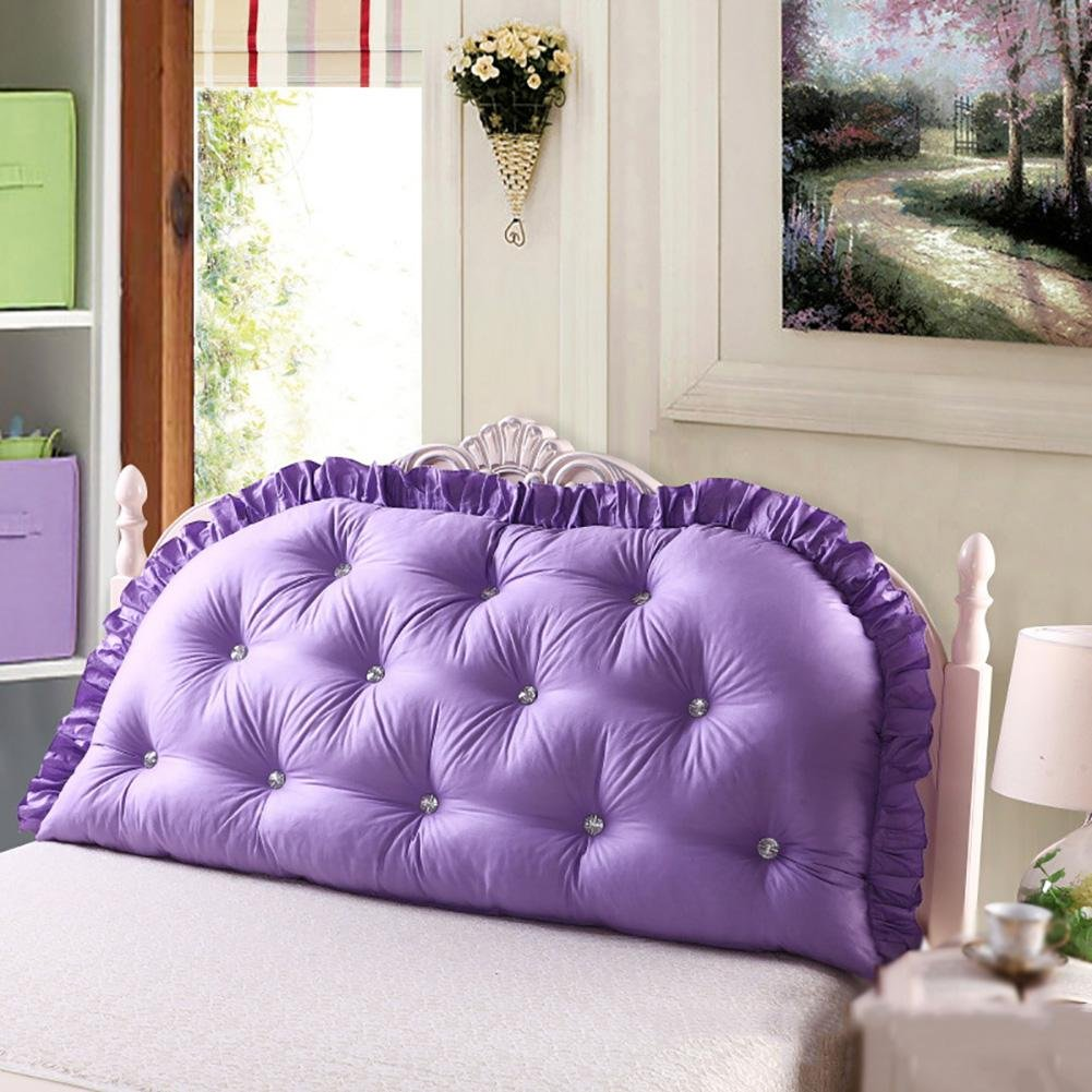 FLHSLY Pure Cotton Bedside Cushions Lumbar Support Cushions Reading Pillows Bedside backrest Lace Washable, Purple, 18080cm