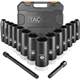 "Tacklife 3/8-Inch Drive Deep Impact Socket Set, Metric,CR-V Steel, 6-Point, 7 mm - 22 mm 16pcs, 3"" and 6"" extensions…"