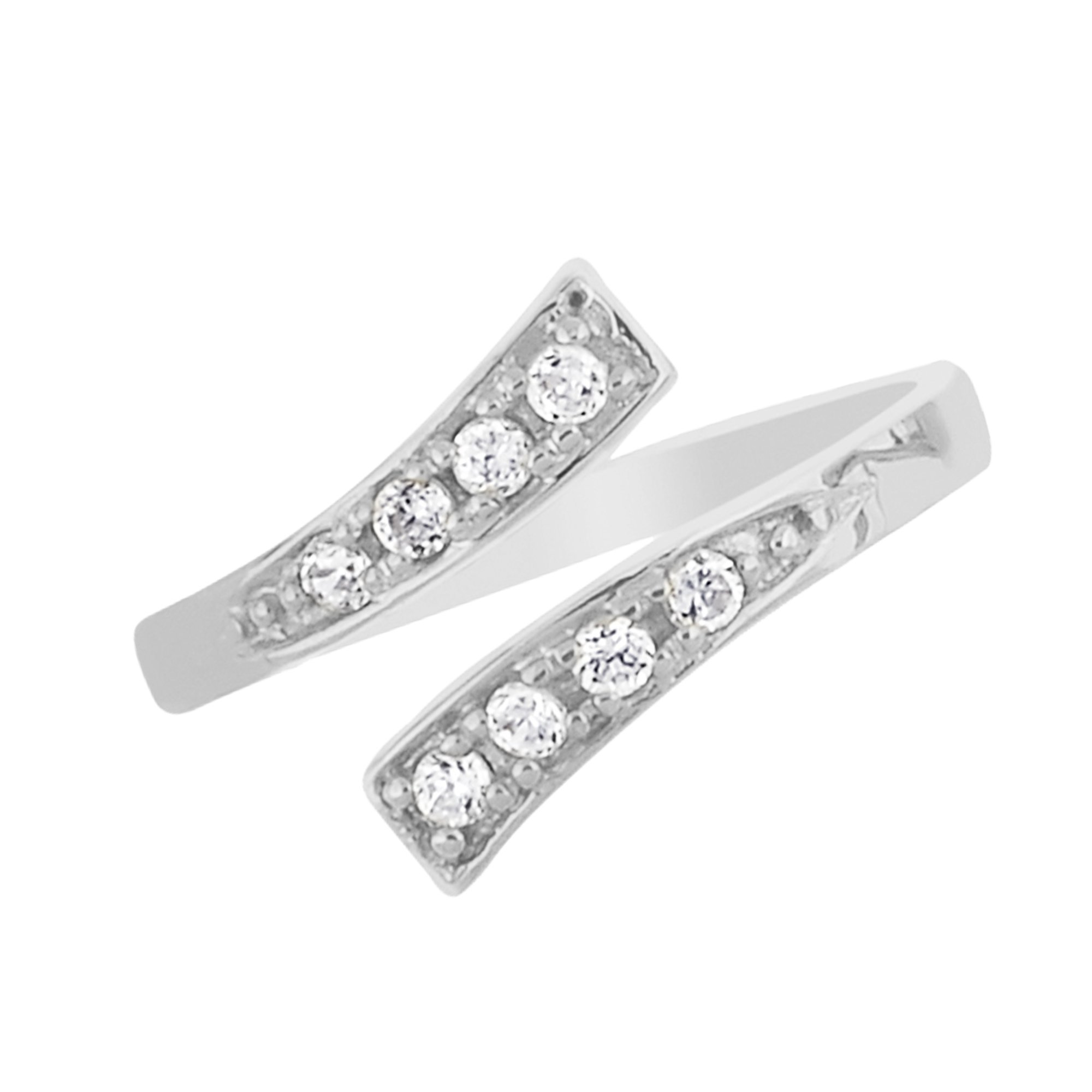 10K White Gold Crossover Shiny CZ Cubic Zirconia Toe Ring or Ring Adjustable