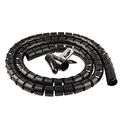 amazon com: cable organizer coiled tube sleeve cable cable management  sleeve black chengsi nbxg0061 hei1528: home audio & theater