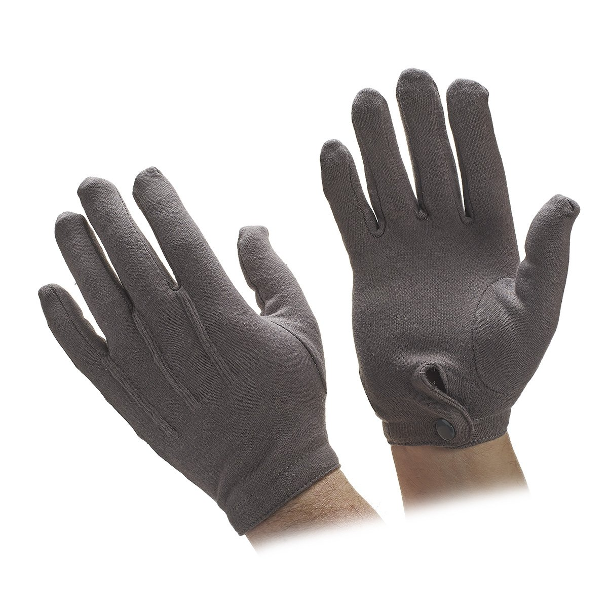 Sold by Dozen Pair Mens Large with Snap Closure Gray Cotton Gloves