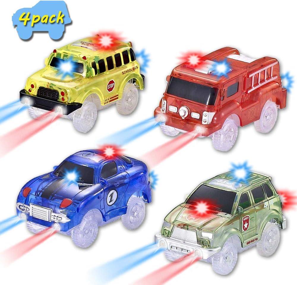 4 Pack CODOMOXO /® Lot de 4 Magic Tracks Voitures Lumineux pour Le Flexible Circuit Magique