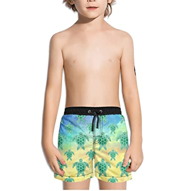 ce9a7a9f65 Amazon.com: FullBo Green Sea Turtle Little Boy's Short Swim Trunks Quick  Dry Beach Shorts: Clothing