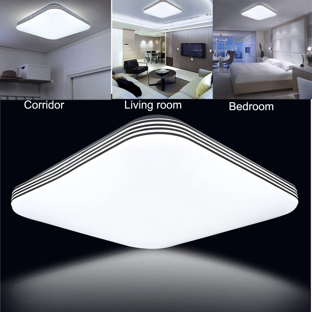 ZHMA 36W Ultra sottile LED Bianco Freddo plafoniera moderno lampada da soffitto per soggiorno cucina camera hotel Super Luminoso Quadrato 300mm*300mm bagno