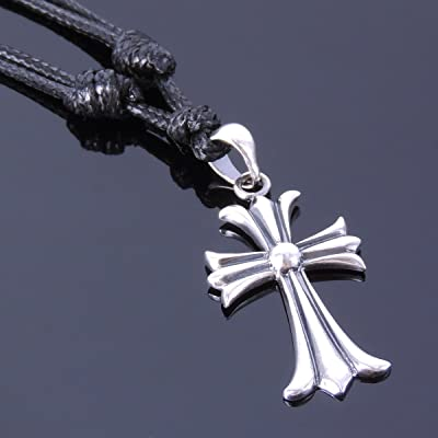 Men and Women Necklace Handmade with Genuine 925 Sterling Silver Cross Pendant & Korea Wax Rope