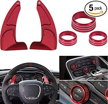 Steering Wheel Shift Paddle Extended+Air Conditioner Switch CD Button Knob For Dodge Challenger Charger Durango RT Chrysler Scat Pack 2015~2020 Interior Decoration Accessories Aluminum Alloy Red