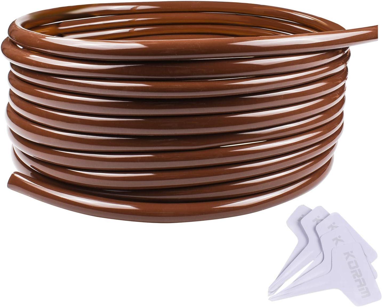 "KORAM 1/2"" Drip Irrigation Tubing Blank Distribution Hose PVC 13mm/0.51"" Inner Diameter with Plant Garden Labels, 100ft Roll"
