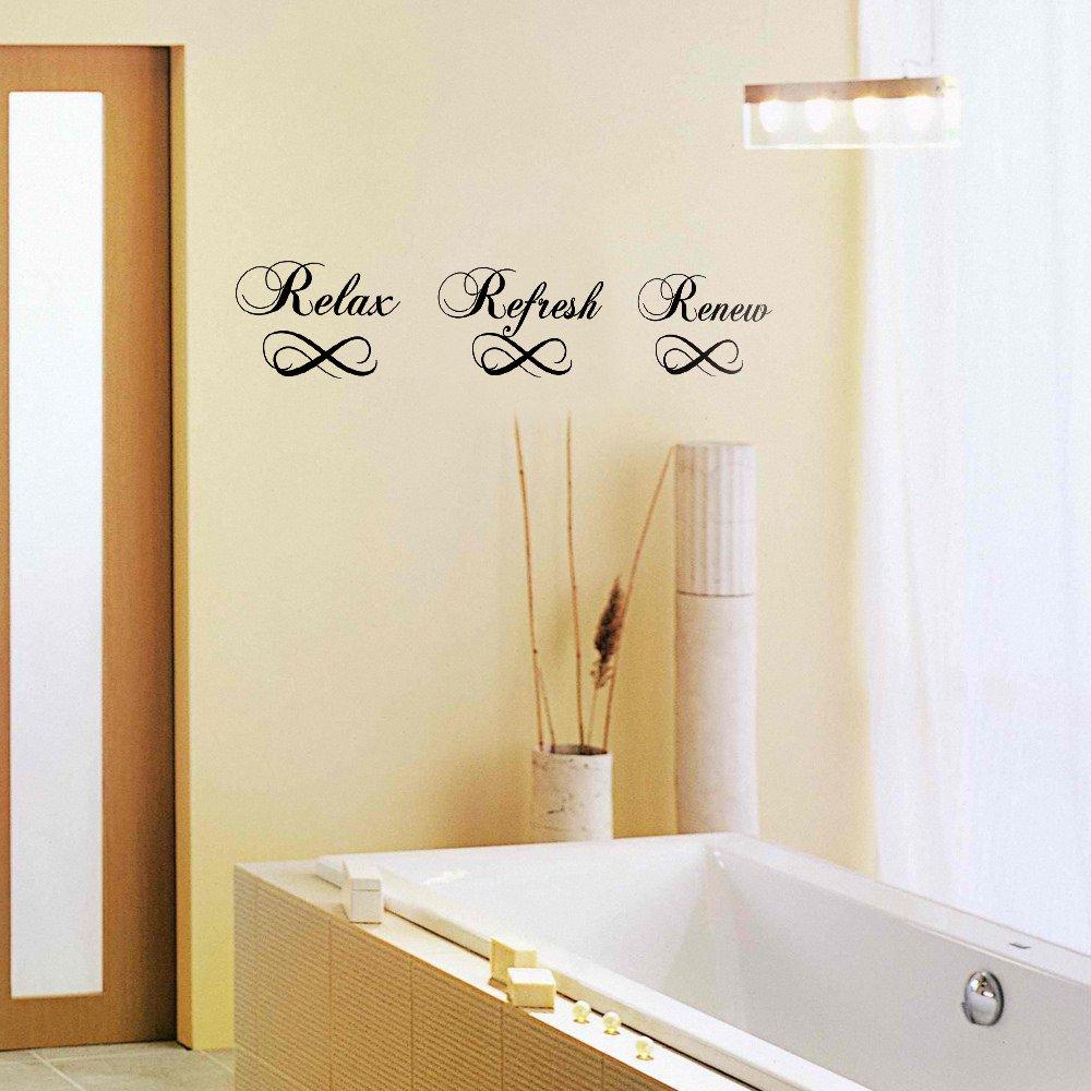 MairGwall Bathroom Wall Decal - Relax Refresh Renew - Vinyl Sayings Bath Art Quote Sticker Home Decor (Black, Small)