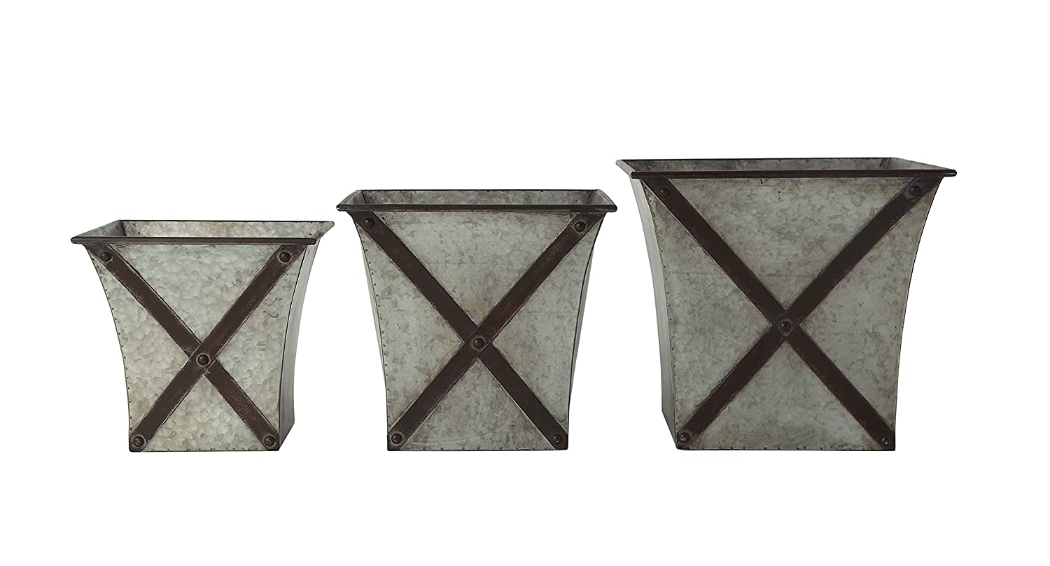 Rustic galvanized square metal planters for French farmhouse decorating and European country inspired interiors.