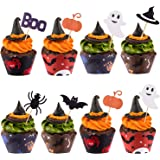 TUPARKA 30Pcs Halloween Cupcake Wrappers Halloween Cake Toppers Decorations Spider Pumpkin Ghost Hand Cake Decorations…